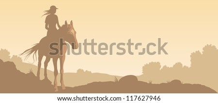Vector image of girl on horse against a background of landscape