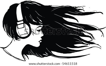 Vector image of Girl with long hair and headphones