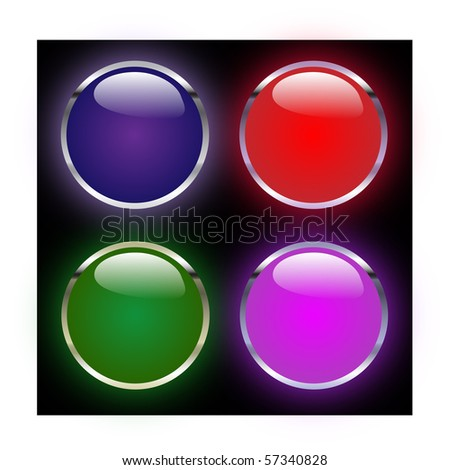 Vector image of glowing web buttons - stock vector