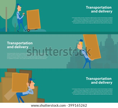 Vector image of green horizontal banners. Horizontal banners with men porters. Cartoon men porters delivering large yellow boxes. Transportation and delivery. Vector banners with men porters. - stock vector