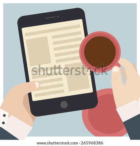 Vector image of hands holding tablet computer and cup of coffee, flat style illustration icon - stock vector