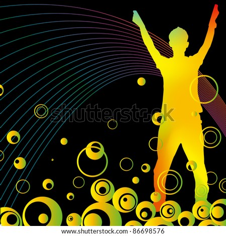 Vector image of hip hop dancer. Silhouette on background - stock vector