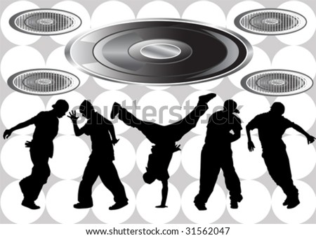 Vector image of hip hop dancers. Silhouettes on the background of musical instruments - stock vector