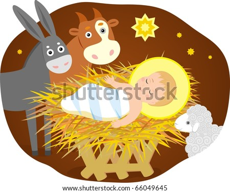 Vector image of holy child with donkey, lamb and calf. - stock vector