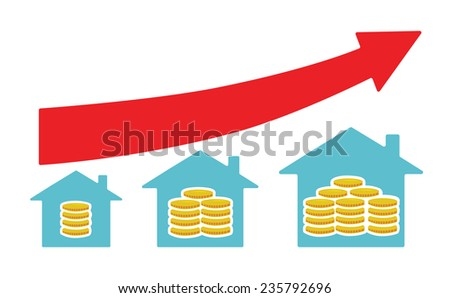 Vector image of houses with money from small to large size, with a red arrow above - stock vector
