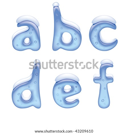 Vector image of ice alphabet small letter under snow - stock vector