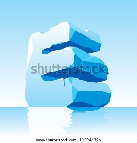 vector image of ice letter E - stock vector