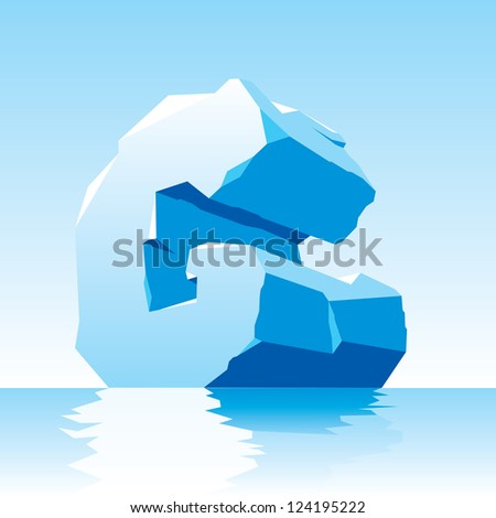vector image of ice letter G - stock vector