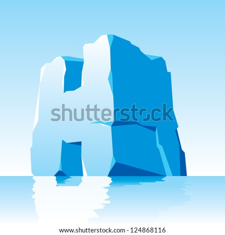 vector image of ice letter H - stock vector