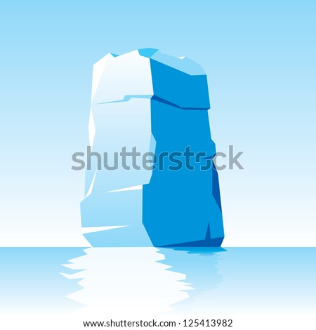 vector image of ice letter I - stock vector