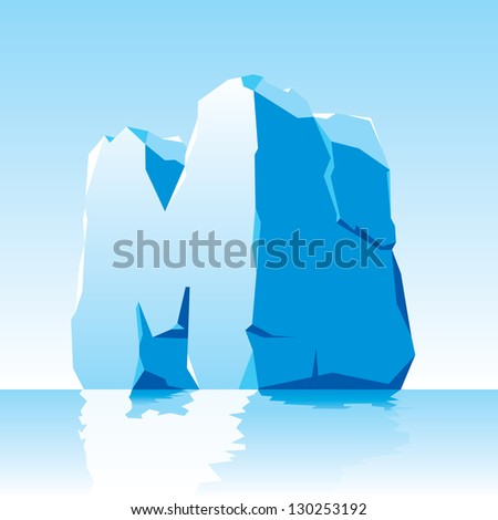 vector image of ice letter M - stock vector