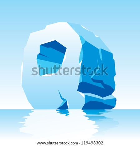 vector image of ice letter Q - stock vector