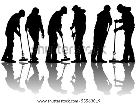 Vector image of man, sweeping leaves. Silhouette of work people - stock vector