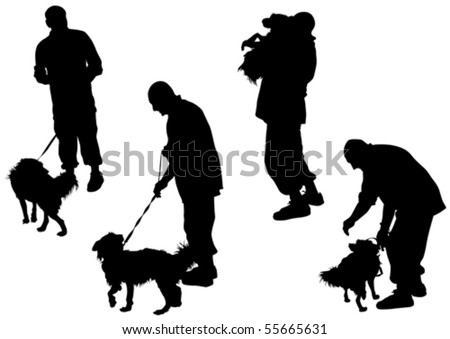 Vector image of man with a dog on a leash