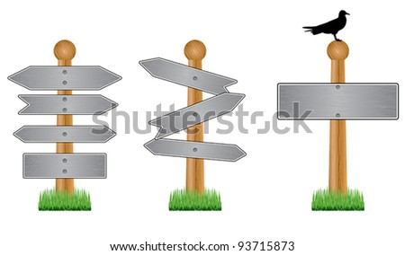 Vector image of metal crossroad signs on white