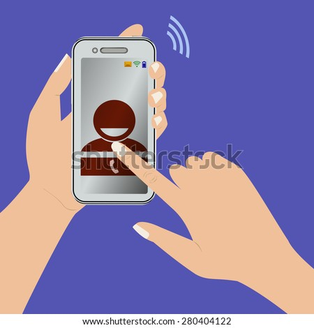 Vector image of mobile phone in the hands of women