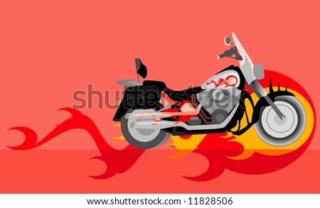 vector image of motorcycle with flame - stock vector