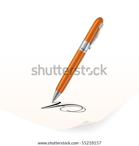 Vector image of orange pen writing on paper