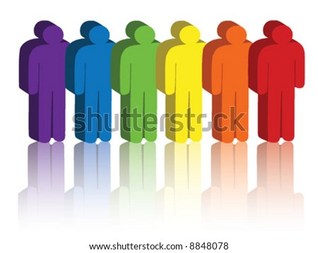 Vector image of people icons in a rainbow of colors