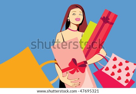 vector image of pretty woman with presents after shopping isolated on blue - stock vector