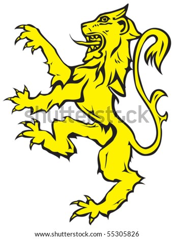 Vector image of rampant lion - stock vector