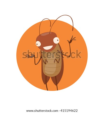 Vector image of round orange frame with cartoon image of a funny brown cockroach with antennae and six legs standing and smiling in the center on a white background. Anthropomorphic cartoon cockroach. - stock vector