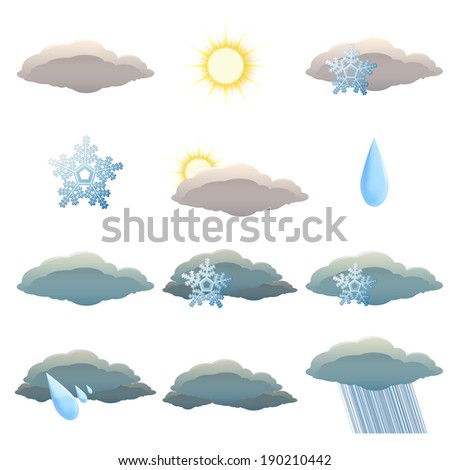 Vector image of set of Weather icons