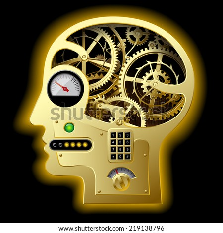 Vector image of silhouette of a human mechanical gold head half face with brain gears and other equipment. Business concepts. Concept of human thinking  - stock vector