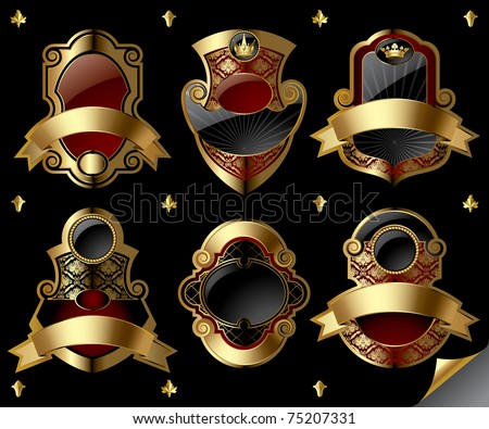 Vector image of six gold vintage labels with design elements on black background
