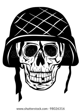 Vector image of  skull in an army helmet - stock vector