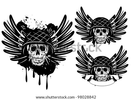 Vector image of  skull in an army helmet and wings