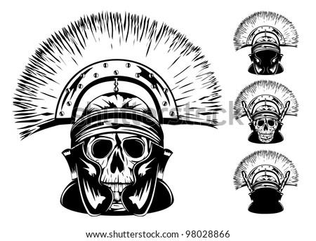 Vector image of skull in  helmet - stock vector