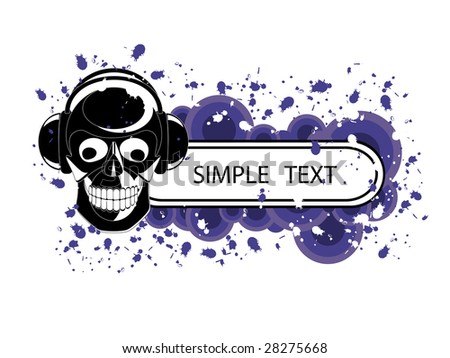 Vector image of skull with headphones and banner for sample text.