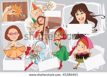 vector image of smiling girls with blank area for text. may be use for birthday cards and posters - stock vector
