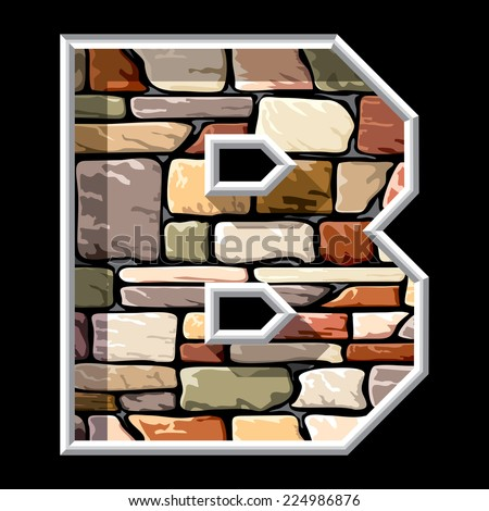 vector image of stone letter B - stock vector