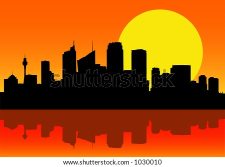 Vector Image of Sydney City Silhouette at Dawn - stock vector
