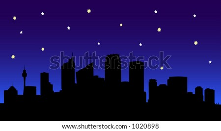 Vector Image of Sydney City Silhouette at Night. - stock vector