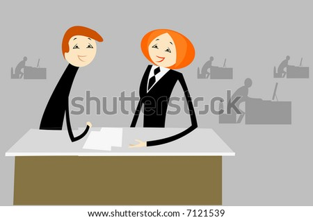 vector image of talk in office