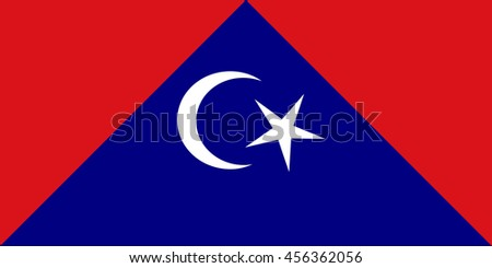 Vector image of Tangkak district flag, Johor, Malaysia, Proportion 1:2. EPS10.