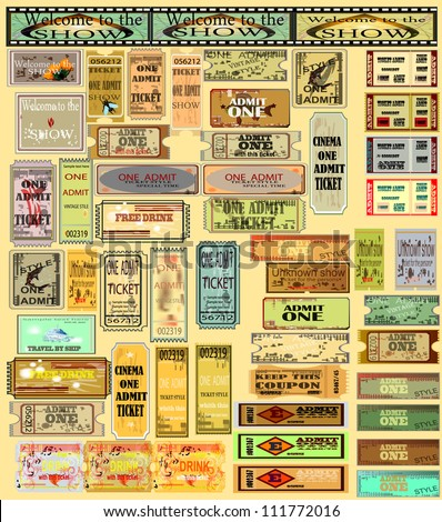 Vector image of template for paper. Big set of tickets 54 subjects in various styles. - stock vector