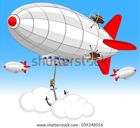 vector image of the airship on the air parking - stock vector