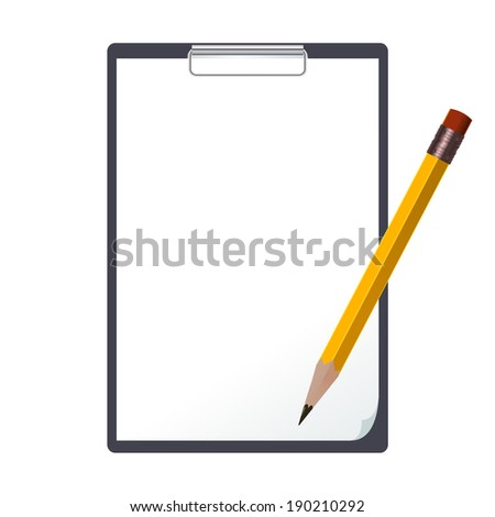 Vector image of the black tablet and an pencil
