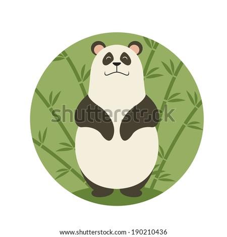 Vector image of  the cartoon Smiling panda - stock vector
