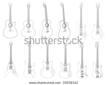 Vector image of the guitars isolated on white. - stock vector