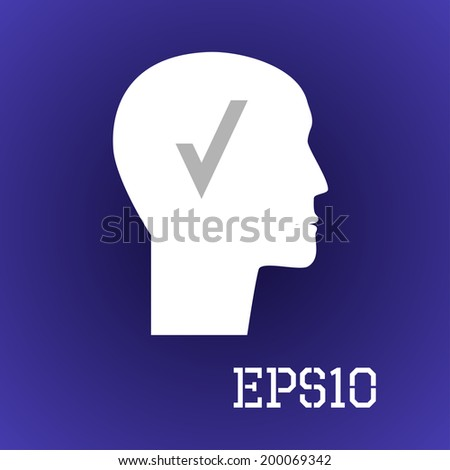 Vector image of the head with a check. - stock vector