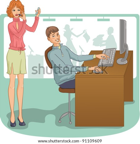 Vector image of the man and woman at their working place. Young man looks incidentally at the pretty woman who is making up with lipstick just near him - stock vector