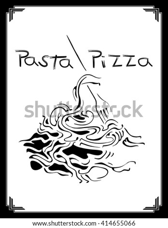 Vector image of the menu for restaurant with italian pasta. Creative design for the cover of the menu.