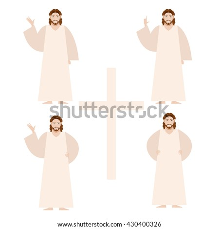 Vector image of the Set of Jesus - stock vector