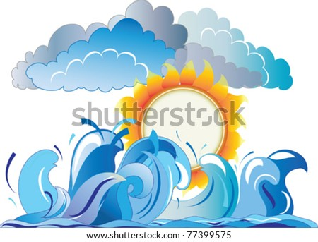 vector image of the sun against the backdrop of the sea waves and storm clouds - stock vector