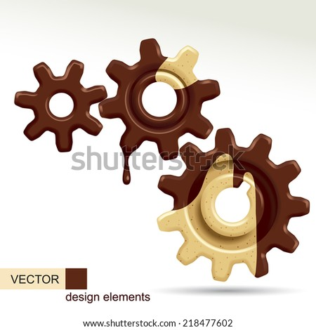 Vector image of three confectionery gears of different sizes - stock vector